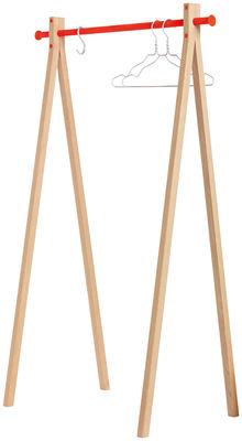 Mobilier - Portemanteaux, patères & portants - Portant Dress-up / L 120 cm - Nomess - Bois naturel / Barre orange - Aluminium, Hêtre