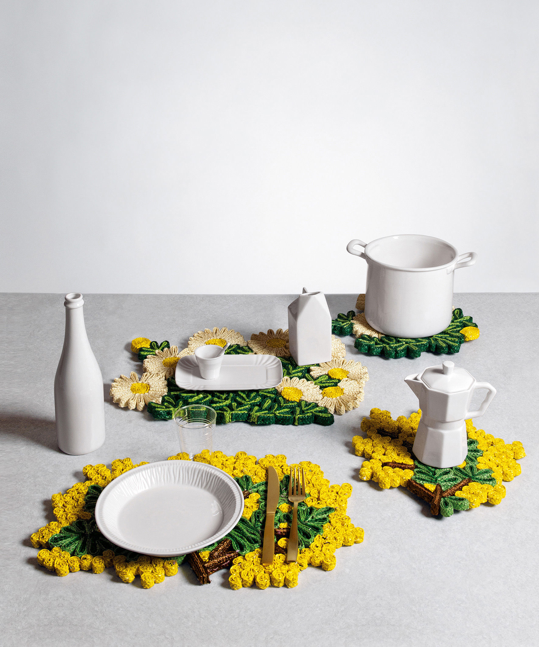 set de table florigraphie mimosa 50 x 35 cm jaune vert. Black Bedroom Furniture Sets. Home Design Ideas