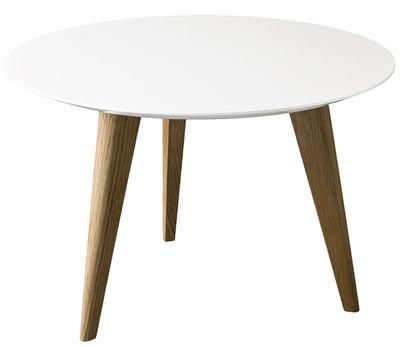 Tavolino Lalinde Ronde - rontondo - Large Ø 55 cm / Gambe legno di Sentou Edition - Bianco,Rovere - Legno