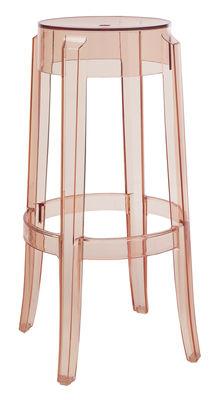 tabouret haut empilable charles ghost h 75 cm plastique rose saumon kartell. Black Bedroom Furniture Sets. Home Design Ideas