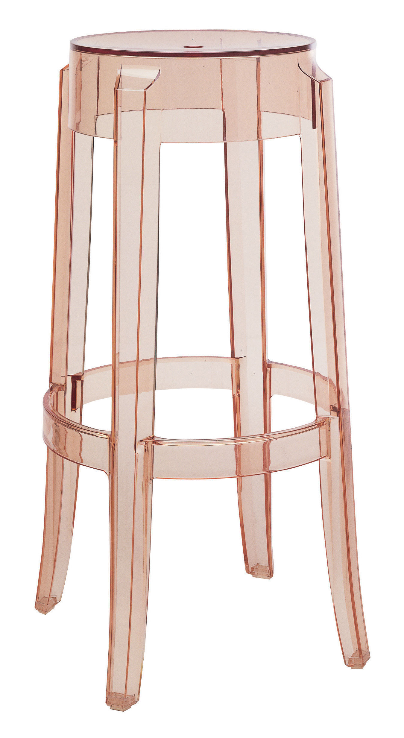 Tabouret haut empilable charles ghost h 75 cm plastique rose saumon k - Tabouret plastique empilable ...