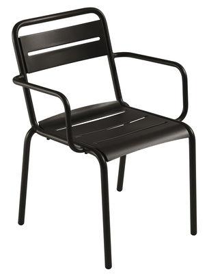 Star Stapelbarer Sessel / Metall - Emu - Schwarz mattiert