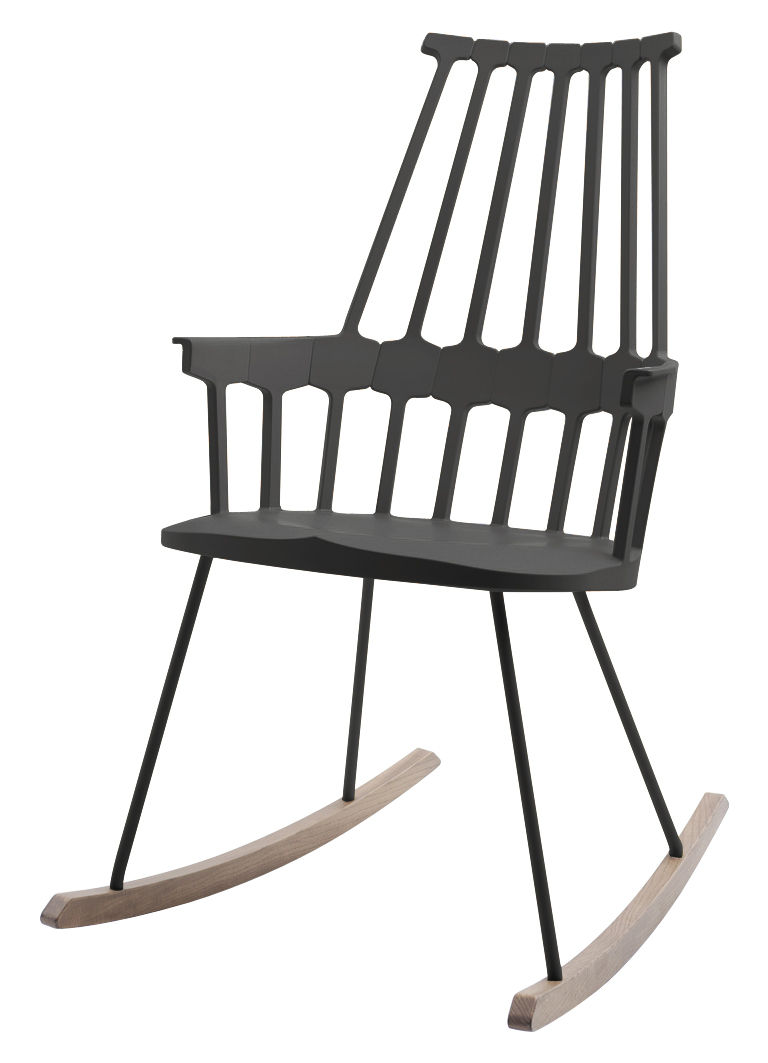 rocking chair comback polycarbonate pieds bois noir bois kartell. Black Bedroom Furniture Sets. Home Design Ideas