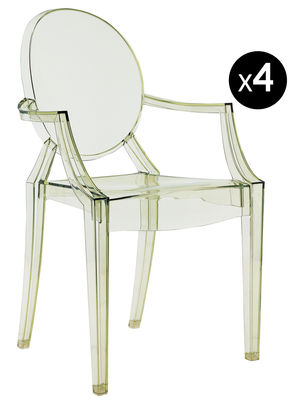 Louis Ghost Stapelbarer Sessel Set mit 4 Sessel - Kartell - Grün transparent