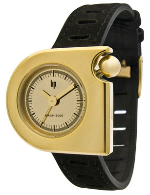 Accessories - Watches - Marquise Gold Watch by Lip - Black strap / Gold dial - Golden steel, Leather