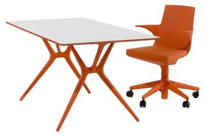 table pliante spoon bureau 160 x 80 cm plateau blanc pieds orange kartell. Black Bedroom Furniture Sets. Home Design Ideas