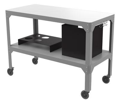 Carrello/tavolo d'appoggio Hegoa - Per plancha & bbq - Con cache-cube Butagaz, portabottiglie, ganci di Matière Grise - Grigio,Nero - Metallo