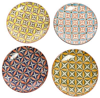 Assiette dessert hippy 20 cm set de 4 multicolore pols potten made in design for Set de table multicolore