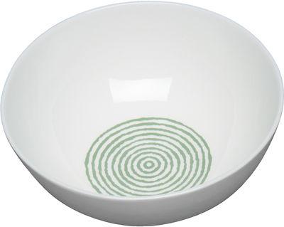 Arts de la table - Saladiers, coupes et bols - Saladier Acquerello Ø 24,5 cm - A di Alessi - Ø 24,5 cm / Blanc & vert - Porcelaine Bone China
