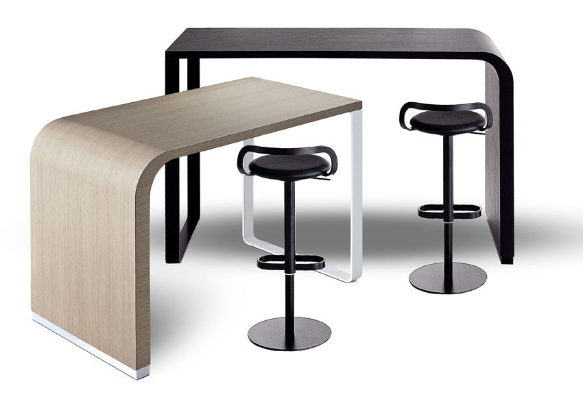 mange debout brunch comptoir l 140 h 90 cm ch ne blanchi structure chrome lapalma. Black Bedroom Furniture Sets. Home Design Ideas