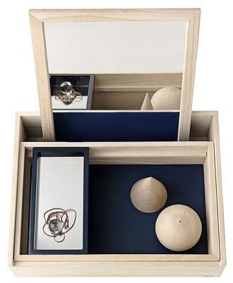 Déco - Boîtes déco - Boîte à bijoux Balsabox Personal / Coiffeuse - 42 x 32 cm - Nomess - Bois naturel / Intérieur bleu - Bois de balsa