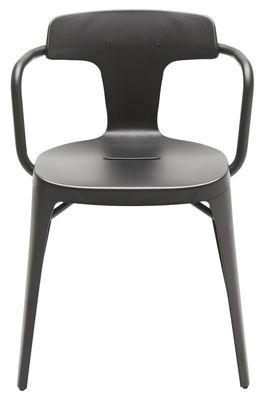 Mobilier - Chaises, fauteuils de salle à manger - Fauteuil T14 empilable / Inox - Intérieur /extérieur - Tolix - Noir mat - Acier inoxydable