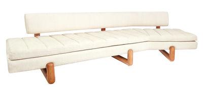 Divano angolare destro Aspen / L  270, 5 cm - Piedi mogano - Jonathan Adler - Bianco sporco,Legno naturale - Tessuto