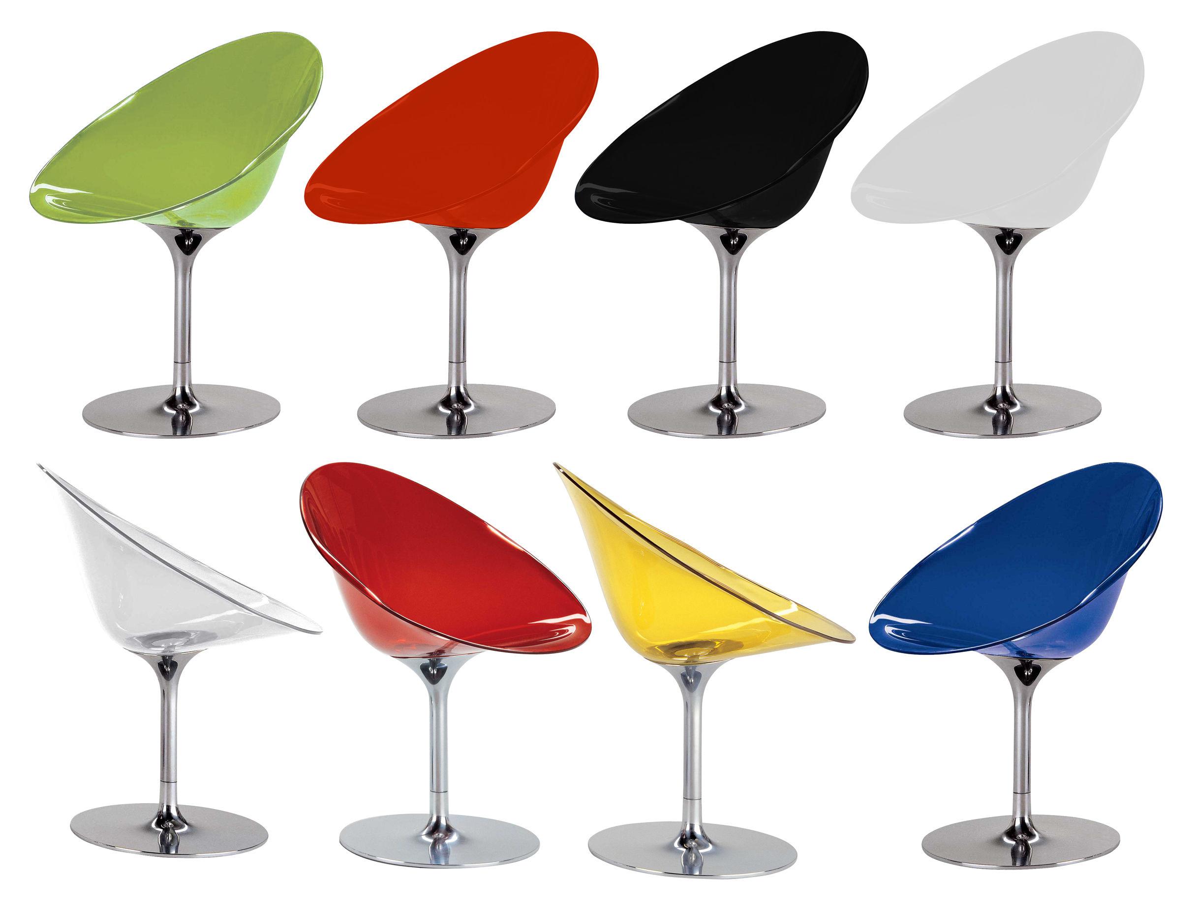 fauteuil pivotant ero s transparent polycarbonate transparent kartell. Black Bedroom Furniture Sets. Home Design Ideas