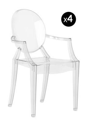 Poltrona bambino Lou Lou Ghost / Set da 4 - Kartell - Trasparente - Materiale plastico