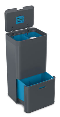 Kitchenware - Bins - Totem 58 Waste bin - 58  L - 4 removabe trays by Joseph Joseph - Anthracite - Plastic material, Steel