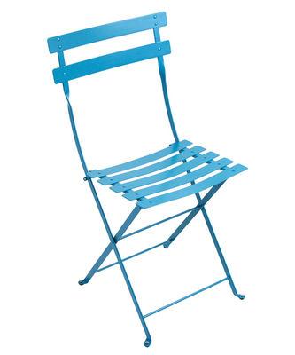Chaise pliante Bistro Métal Fermob bleu turquoise en métal
