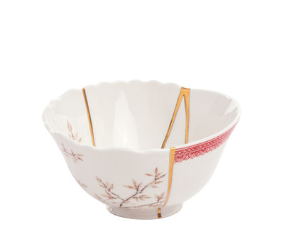 Bol Kintsugi / Porcelaine & or fin - Seletti blanc,rouge,or en céramique
