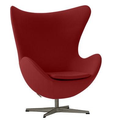 Mobilier - Fauteuils - Fauteuil pivotant Egg chair / Tissu Divina - Fritz Hansen - Rouge - Aluminium poli, Fibre de verre, Mousse de polyuréthane, Tissu Kvadrat