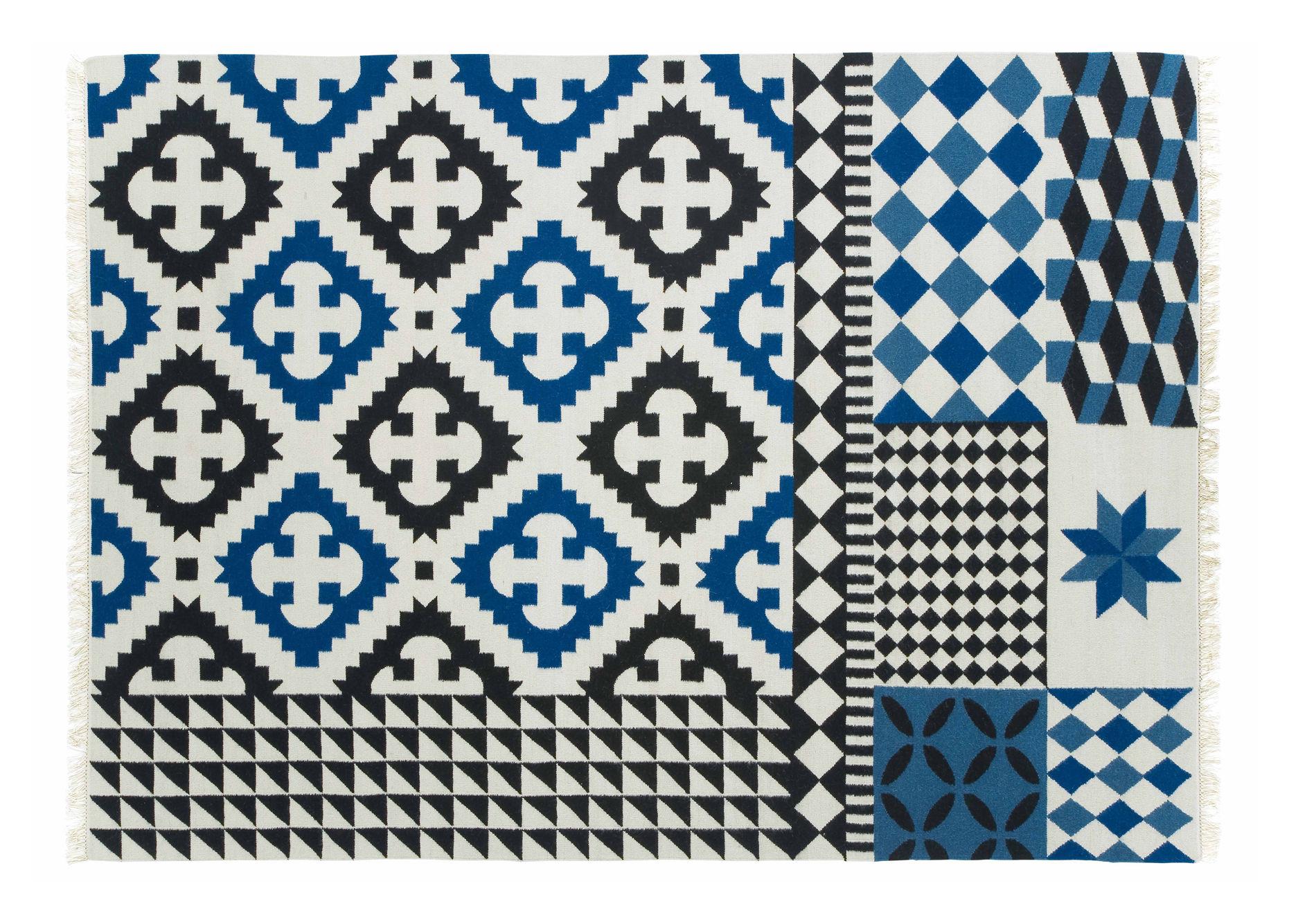 tapis kilim palermo 240 x 170 cm bleu gan. Black Bedroom Furniture Sets. Home Design Ideas