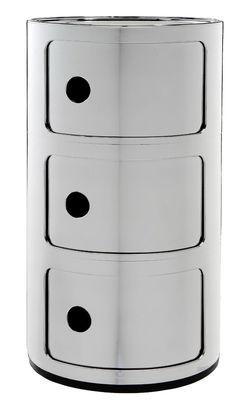 Foto Portaoggetti Componibili - / 3 cassetti - Metallizzato di Kartell - Cromato - Materiale plastico