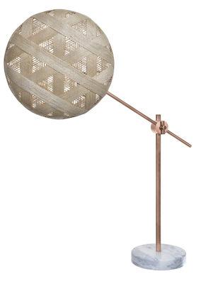 Lampe de table Chanpen Hexagon Ø 36 cm / Articulée - Motifs triangles - Forestier cuivre,beige en tissu