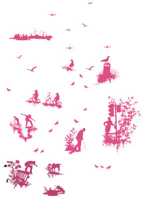 Decoration - Stickers and wallpapers - Silhouette Toile Sticker by Domestic - Pink - Vinal