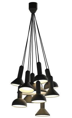 Luminaire - Suspensions - Suspension Torch Light / ensemble de 10 suspensions - Established & Sons - Noir / Câbles noirs - PVC