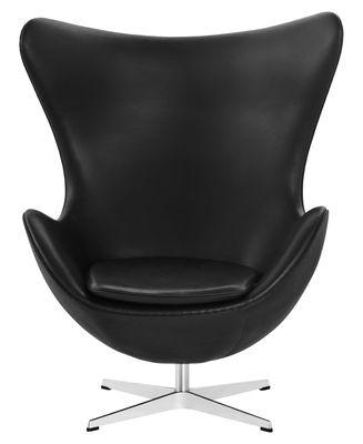 Möbel   Lounge Sessel   Egg Chair Drehsessel Leder   Fritz Hansen    Schwarzes Leder