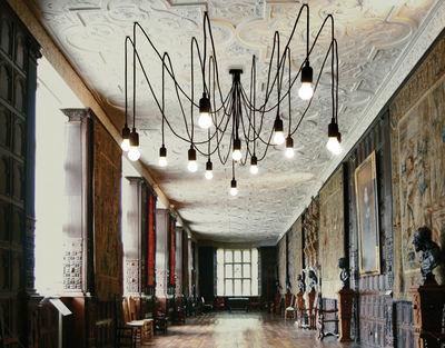 suspension maman 14 ampoules led incluses ampoules blanc satin c bles noirs seletti. Black Bedroom Furniture Sets. Home Design Ideas