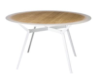 Tendances - Espace Repas - Table Pylon Gradient / Bois avec dégradé blanc - Ø 130 cm - Diesel with Moroso - Chêne bord blanc / Pied blanc - Acier laqué, Chêne