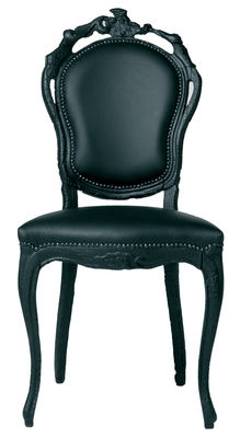 Furniture - Chairs - Smoke Chair Padded chair - Wod & leather by Moooi - Black - Burned wood, Leather