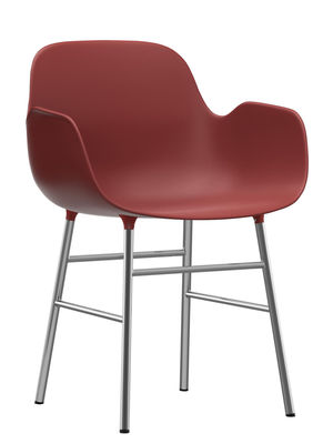 Form Sessel / Fußgestell chrom-glänzend - Normann Copenhagen - Rot,Verchromt