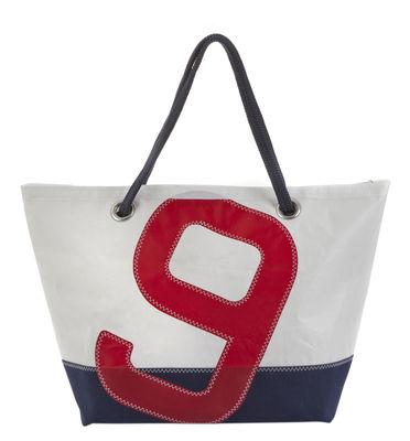 Accessoires - Sacs, trousses, porte-monnaie... - Sac week-end Carla / Dacron® - Voile bateau recyclée - 727 Sailbags  - Bleu marine & blanc / Chiffre rouge - Tissu acrylique, Voile Dacron®