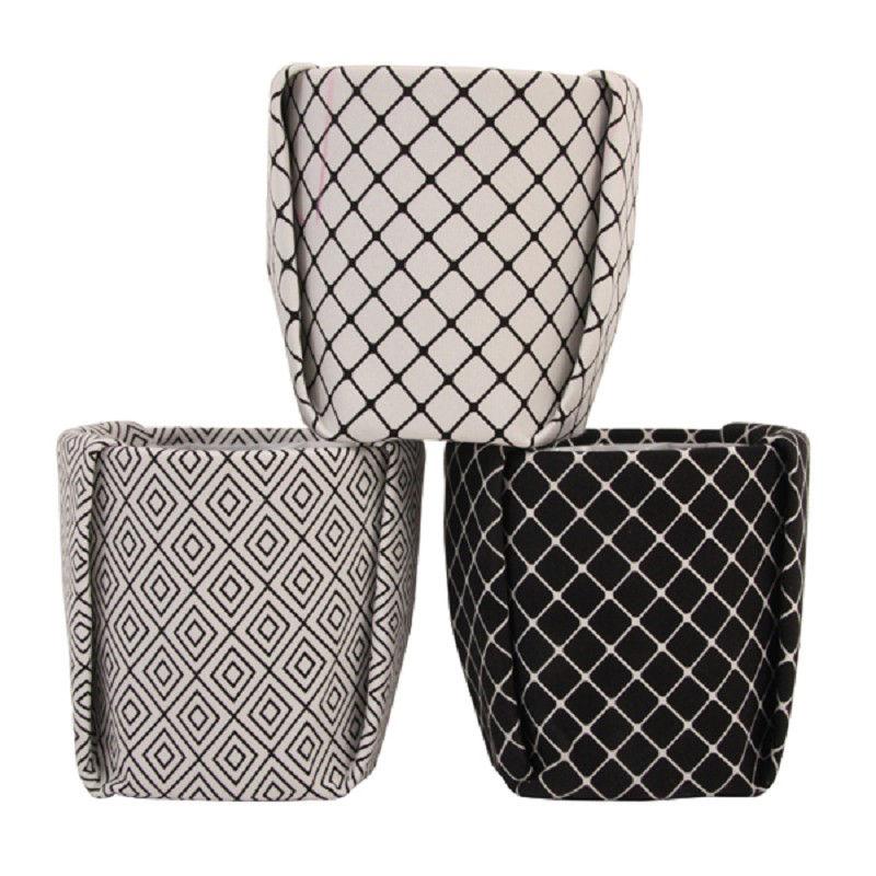 cache pot medium tissu 13 x h 13 5 cm noir blanc klevering. Black Bedroom Furniture Sets. Home Design Ideas