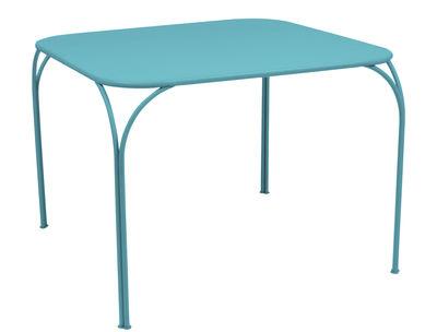 Table Kintbury 100 x 100 cm Fermob bleu turquoise en métal