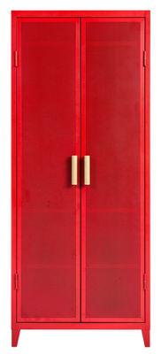 Mobilier - Meubles de rangement - Rangement Vestiaire Penderie / 2 portes - Acier perforé & bois - Tolix - Poivron / Poignées chêne - Acier laqué, Chêne massif