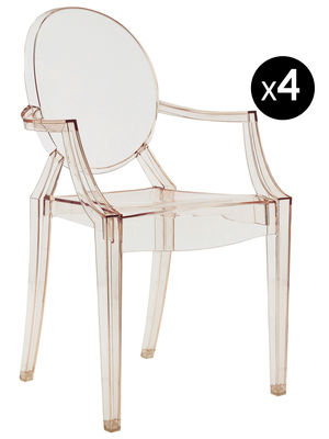 Fauteuil empilable Louis Ghost / Lot de 4 - Kartell orange transparent en matière plastique