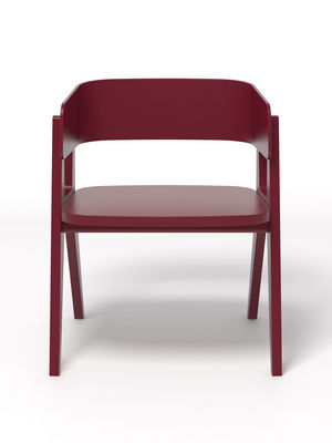 Fauteuil henri bois bordeaux made in design editions - Made design mobilier ...