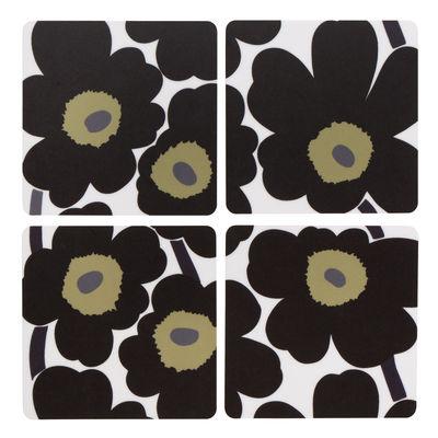 Dessous de verre Unikko / Set de 4 - Marimekko blanc,noir en bois