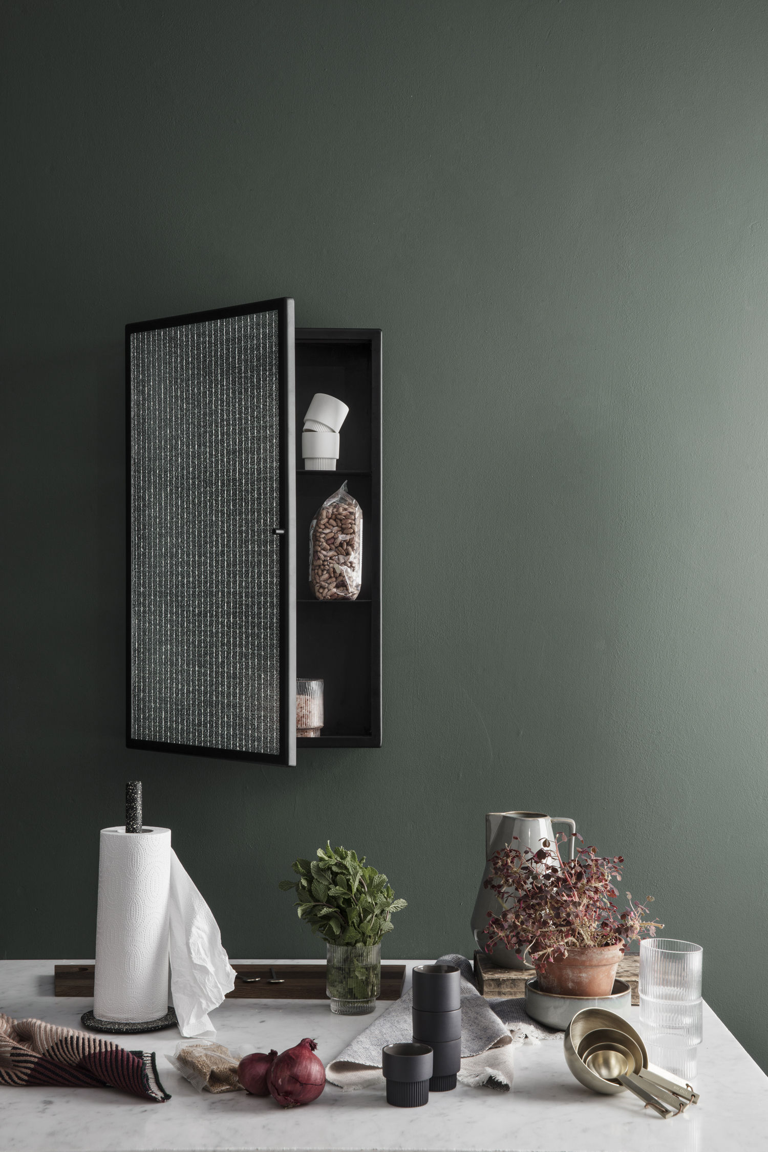 Haze Wall storage - L 35 x H 60 cm / Glass & metal Translucent glass ...