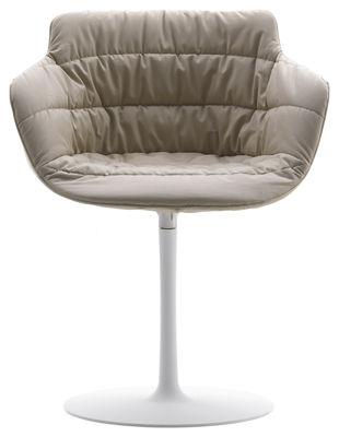 "Möbel - Stühle  - Flow Drehsessel Textil - drehbarer Sockel - MDF Italia - Beiger Stoff ""Londra"" / weißes Gestell - lackiertes Aluminium, stoffbezogenes Polyurethan"