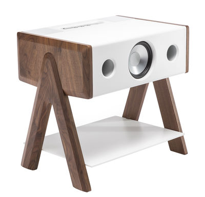 St-Valentin - Pour Lui - Enceinte Bluetooth Cube / Corian® - La Boîte Concept - Corian blanc & noyer - Corian, Noyer