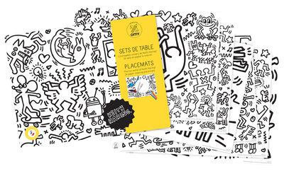 Set de table à colorier Keith Haring / Lot de 24 - OMY Design & Play blanc,noir en papier