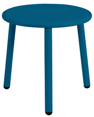Tavolino Yard - / Ø 50 cm di Emu - Blu - Metallo