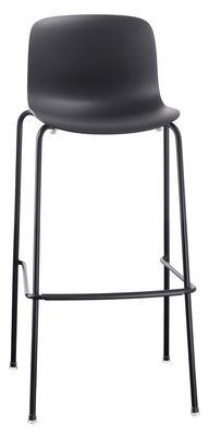 Mobilier - Tabourets de bar - Tabouret de bar Troy Outdoor / Plastique & pieds métal - H 75 cm - Magis - Noir - Acier, Polypropylène