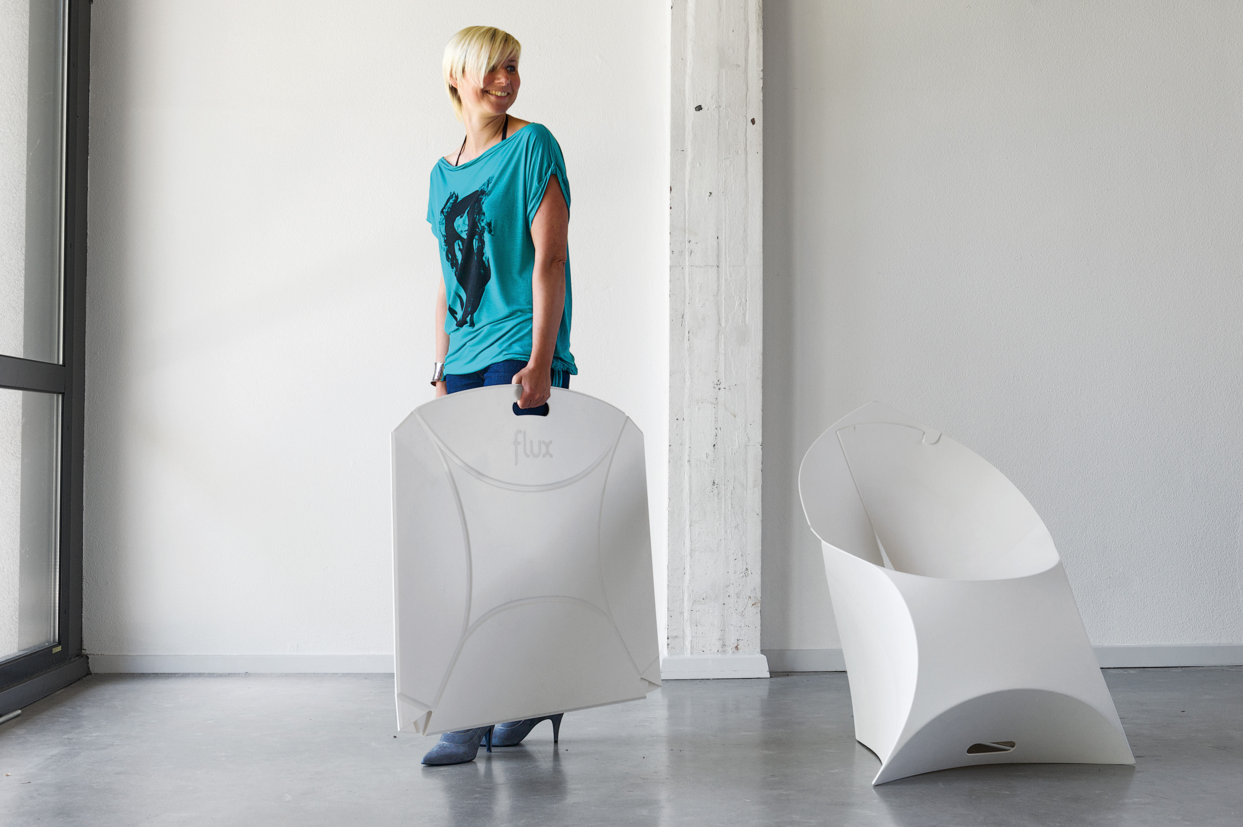 Flux Chair Folding Armchair   Polypropylene White By Flux | Made In Design  UK