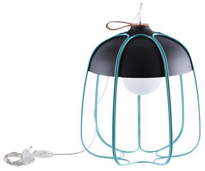 Luminaire - Lampes de table - Lampe de table Tull / Ø 36 x H 40 cm - Incipit - Anthracite / Cage turquoise - Acier, Aluminium, Cuir