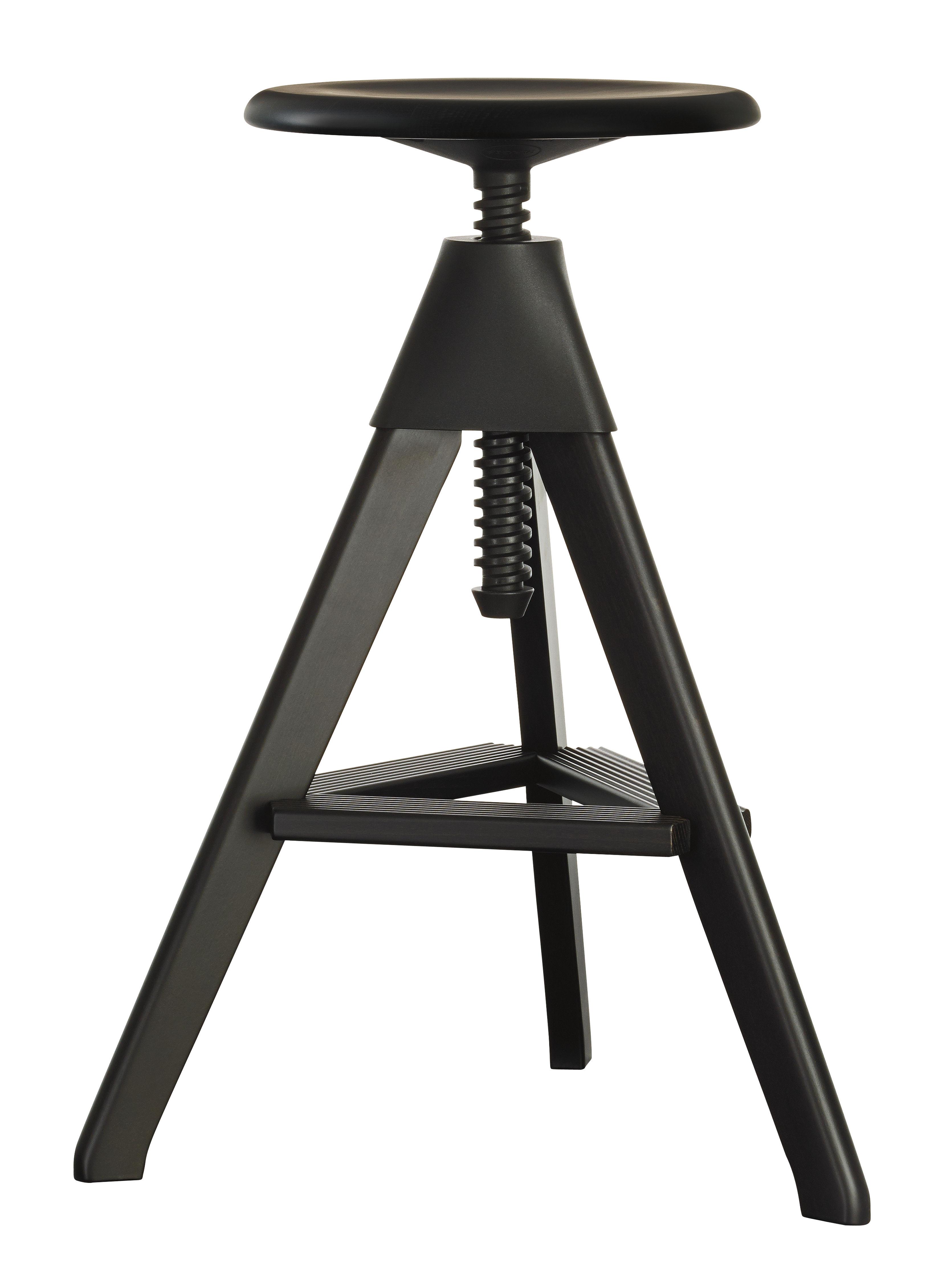 tabouret haut r glable tom pivotant bois plastique noir magis. Black Bedroom Furniture Sets. Home Design Ideas
