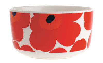 Arts de la table - Saladiers, coupes et bols - Bol Unikko / Ø 12,5 cm - Marimekko - Unikko / Rouge - Porcelaine émaillée